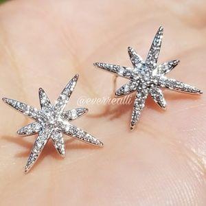 Silver Diamond Star Stud Earrings ear ring